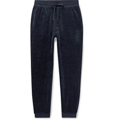 Hugo Boss Slim-Fit Tapered Logo-Embroidered Cotton-Blend Velour Sweatpants