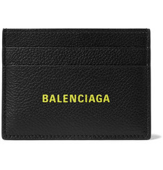 Balenciaga Logo-Print Full-Grain Leather Cardholder