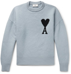 AMI Oversized Logo-Intarsia Virgin Wool Sweater