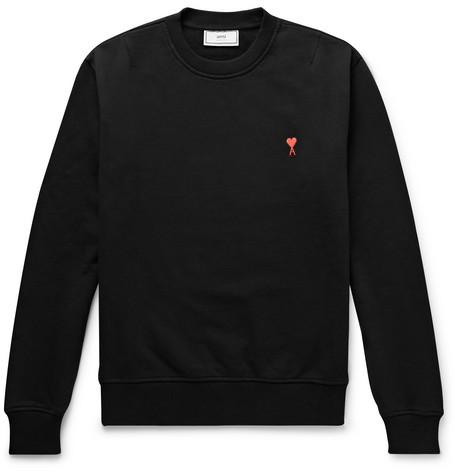 AMI – Logo-appliquéd Loopback Cotton-jersey Sweatshirt – Black