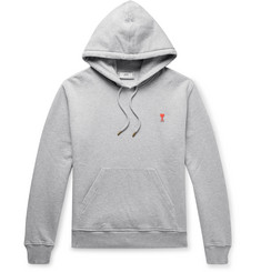AMI Slim-Fit Logo-Appliquéd Mélange Loopback Cotton-Jersey Hoodie