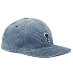 AMI Logo-Appliquéd Cotton-Corduroy Baseball Cap