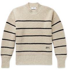 AMI Oversized Logo-Embroidered Striped Virgin Wool Sweater