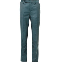 Paul Smith Teal Soho Slim-Fit Sharkskin Wool Suit Trousers