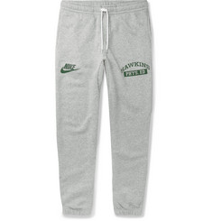Nike + Stranger Things Printed Mélange Fleece-Back Cotton-Blend Jersey Sweatpants