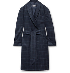 Paul Stuart Piped Checked Silk Robe