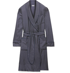 Paul Stuart Piped Polka-Dot Silk Robe