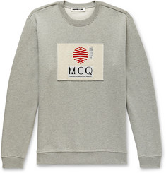 McQ Alexander McQueen Appliquéd Mélange Fleece-Back Cotton-Jersey Sweatshirt