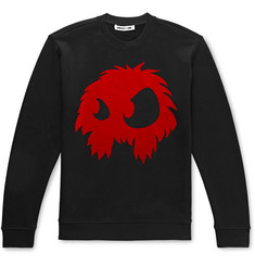 McQ Alexander McQueen Flocked Printed Loopback Cotton-Jersey Sweatshirt