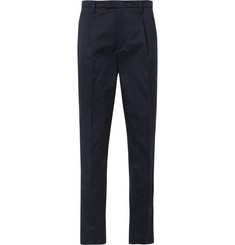 Barena Navy Masco Tapered Pleated Cotton-Twill Trousers