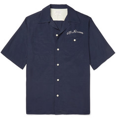 Alexander McQueen Camp-Collar Logo-Embroidered Voile Shirt