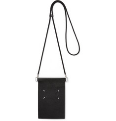 Maison Margiela Pebble-Grain Leather Pouch with Lanyard