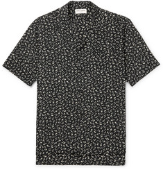 Saint Laurent Camp-Collar Printed Silk Crepe De Chine Shirt