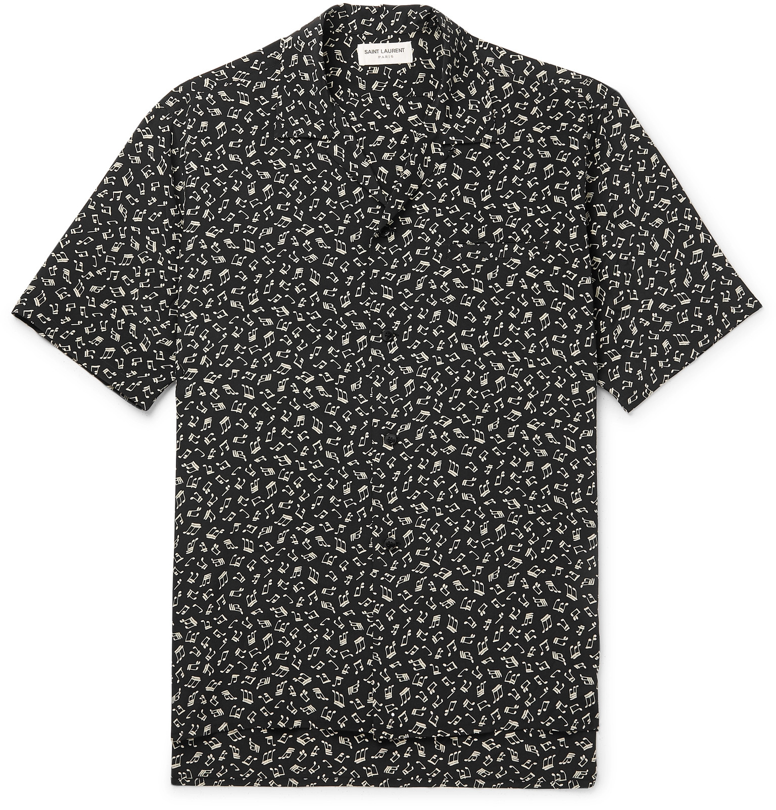 94cab7de SAINT LAURENT - Camp-Collar Printed Silk Crepe De Chine Shirt