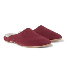 Derek Rose Douglas Shearling-Lined Suede Slippers