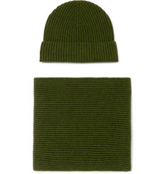 Johnstons of Elgin Ribbed Cashmere Hat and Scarf Set