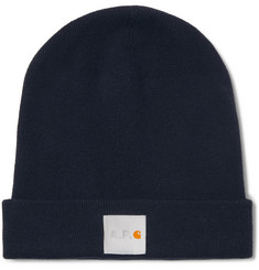 A.P.C. + Carhartt WIP Watchtower Logo-Appliquéd Ribbed Cotton and Cashmere-Blend Beanie