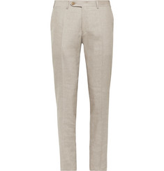 Canali Army-Green Kei Slim-Fit Linen and Wool-Blend Suit Trousers