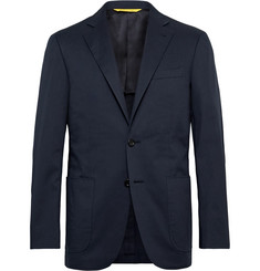 Canali Navy Kei Slim-Fit Cotton-Blend Suit Jacket
