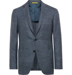 Canali Blue Kei Wool, Silk and Linen-Blend Blazer