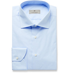 Canali Light-Blue Easy Care Checked Cotton Shirt