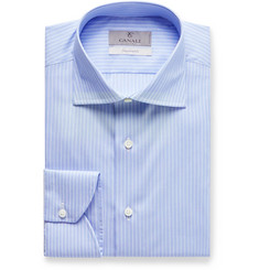 Canali Light-Blue Impeccabile Slim-Fit Striped Cotton-Poplin Shirt
