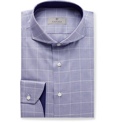 Canali Navy Cutaway-Collar Prince of Wales Checked Cotton-Poplin Shirt