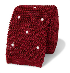 Canali 6cm Polka-Dot Knitted Silk Tie