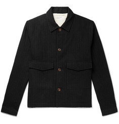 Universal Works Watchman Pinstriped Brushed Cotton and Wool-Blend Jacket