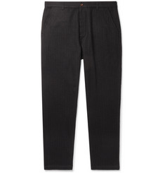 Universal Works Black Pinstriped Brushed Cotton and Wool-Blend Trousers