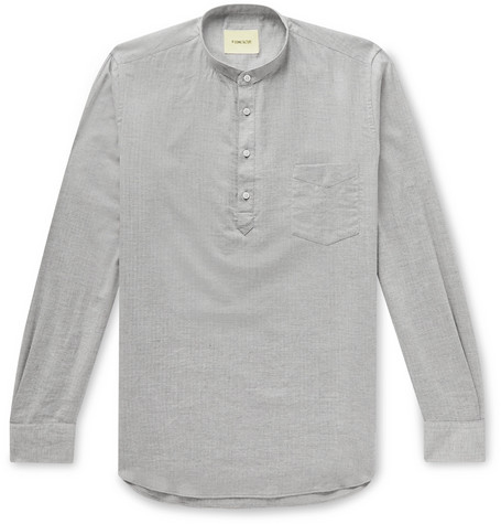 Grandad Collar Herringbone Cotton Half Placket Shirt by De Bonne Facture