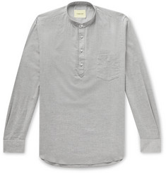 De Bonne Facture Grandad-Collar Herringbone Cotton Half-Placket Shirt