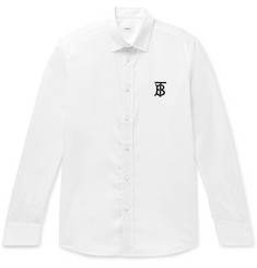 Burberry Logo-Appliquéd Cotton-Blend Poplin Shirt