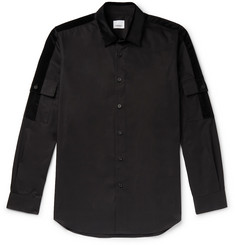 Burberry Slim-Fit Velvet-Trimmed Cotton-Poplin Shirt