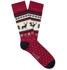 Corgi Fair Isle Cotton-Blend Socks