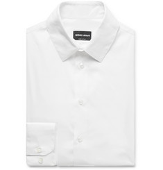 Giorgio Armani White Slim-Fit Stretch Cotton-Blend Shirt