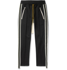 Rhude Black Cropped Slim-Fit Tapered Webbing-Trimmed Jersey Track Pants