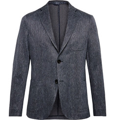 Etro Blue Slim-Fit Cotton and Linen-Blend Jacquard Blazer