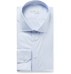 Etro Light-Blue Slim-Fit Cutaway-Collar Striped Cotton-Poplin Shirt
