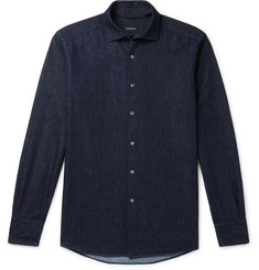 Ermenegildo Zegna Slim-Fit Cutaway-Collar Linen and Cotton-Blend Chambray Shirt