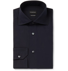 Ermenegildo Zegna Navy Cutaway-Collar Cotton Shirt