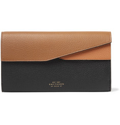 Smythson Colour-Block Full-Grain Leather Travel Wallet