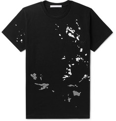 Helmut Lang Printed Logo-Embroidered Mélange Cotton-Jersey T-Shirt
