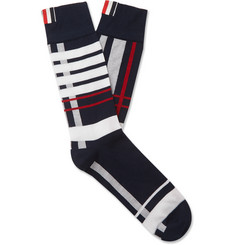 Thom Browne Striped Checked Cotton Socks