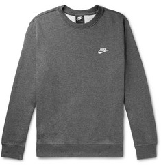 Nike Sportswear Logo-Embroidered Mélange Fleece-Back Cotton-Blend Jersey Sweatshirt