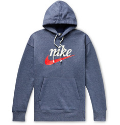 Nike Sportswear Heritage Logo-Print Fleece-Back Cotton-Blend Jersey Hoodie