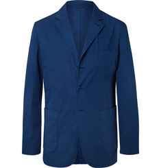 Aspesi Dark-Blue Slim-Fit Unstructured Garment-Dyed Cotton-Gabardine Blazer