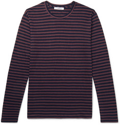 FRAME Refined Striped Slub Linen T-Shirt