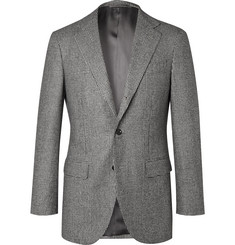 Beams F Grey Slim-Fit Prince of Wales Checked Super 100s Wool Suit Jacket