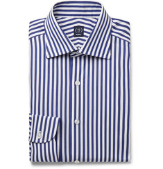 Beams F Navy Cutaway-Collar Striped Cotton-Poplin Shirt